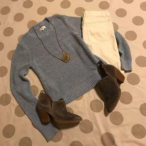 LOFT Lou & Grey blue crew knit sweater